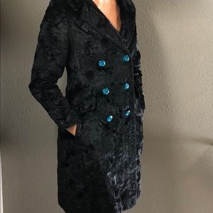 Vintage crushed black velvet pea coat